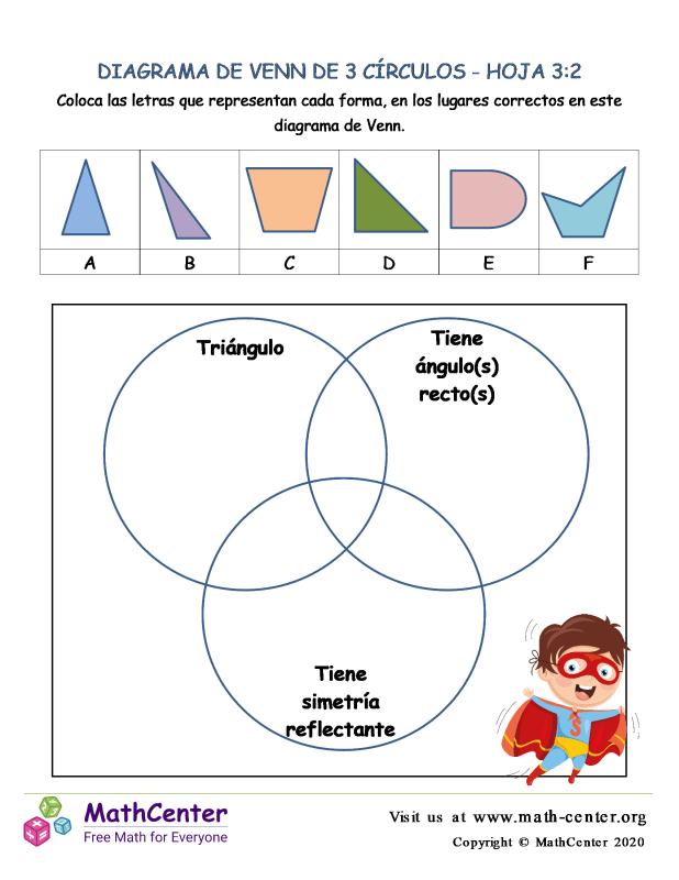 3 Círculos De Diagrama De Venn Hoja 3:2