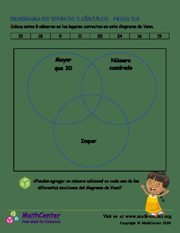 3 Círculos De Diagrama De Venn Hoja 3:4
