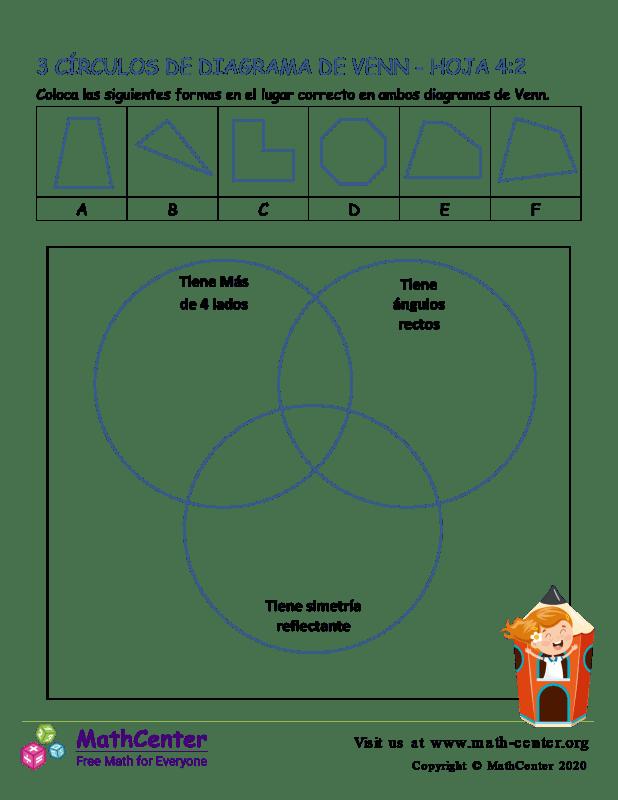 3 Círculos De Diagrama De Venn Hoja 4:2