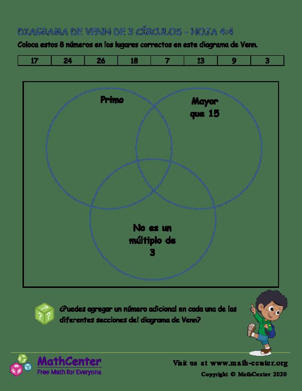3 Círculos De Diagrama De Venn Hoja 4:4
