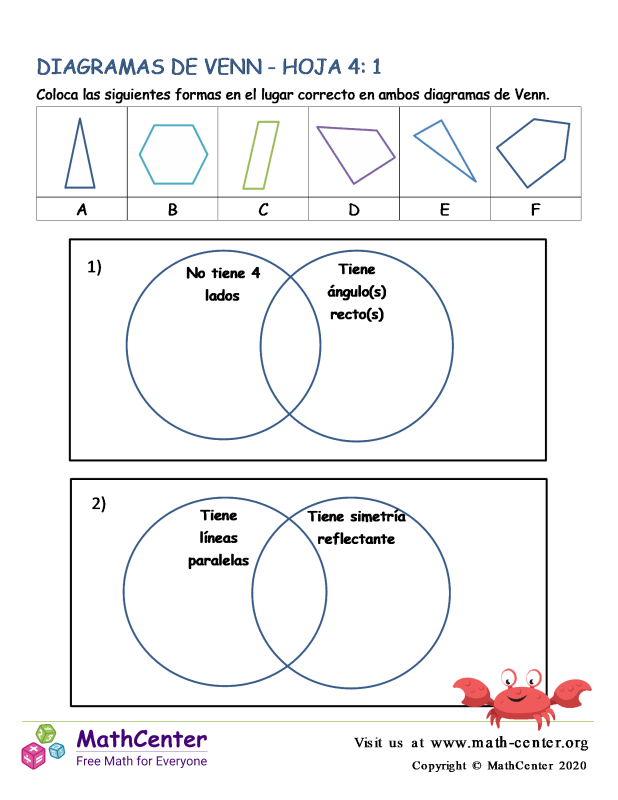Hoja De Diagramas De Venn 4: 1