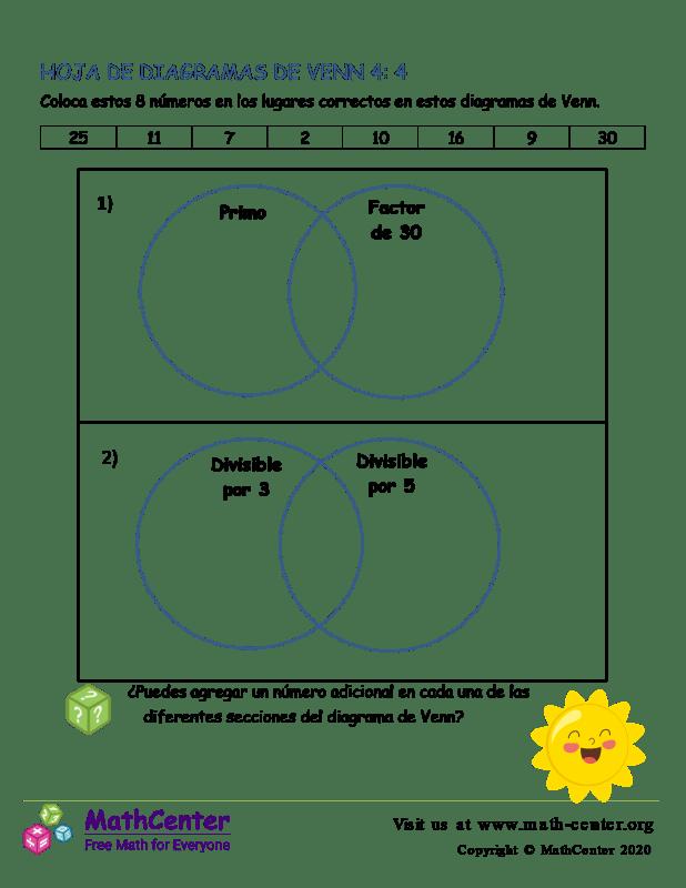 Hoja De Diagramas De Venn 4: 4