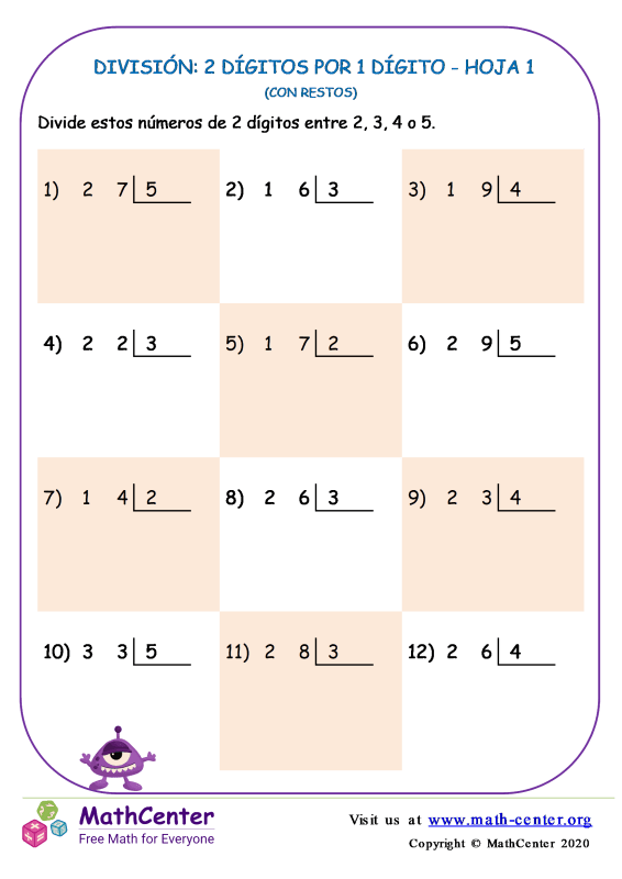 División (con restos) 2 dígitos por 1 dígito - Hoja 1