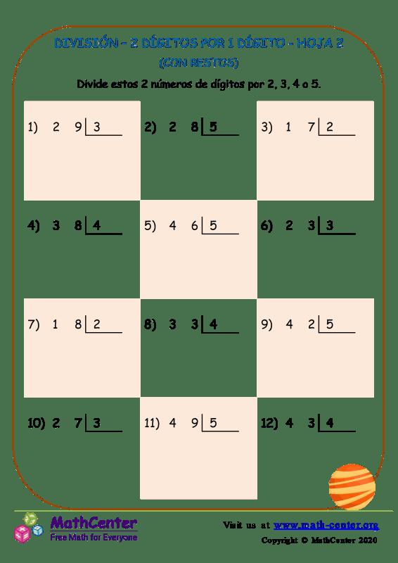 División – 2 Dígitos Por 1 Dígito Hoja 2