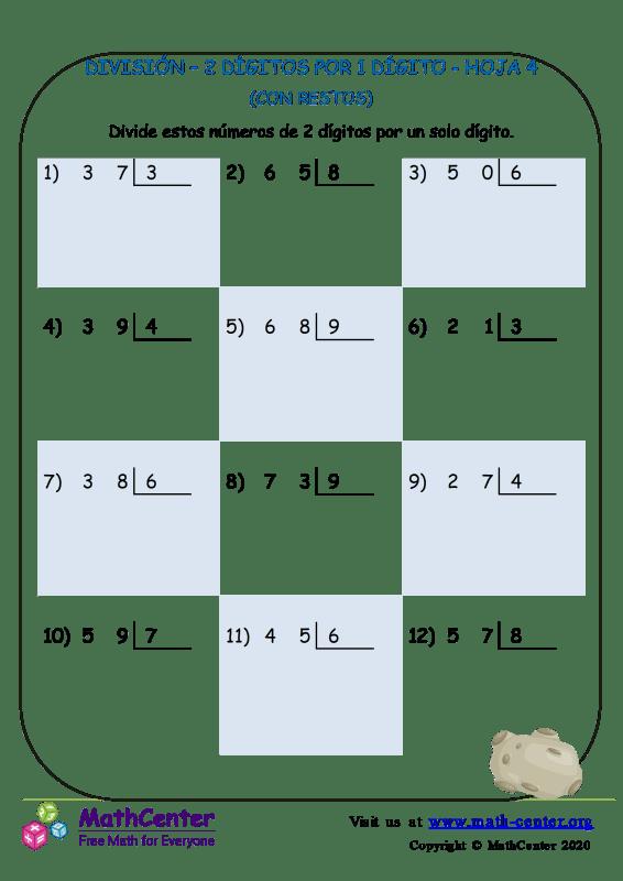 División – 2 Dígitos Por 1 Dígito Hoja 4