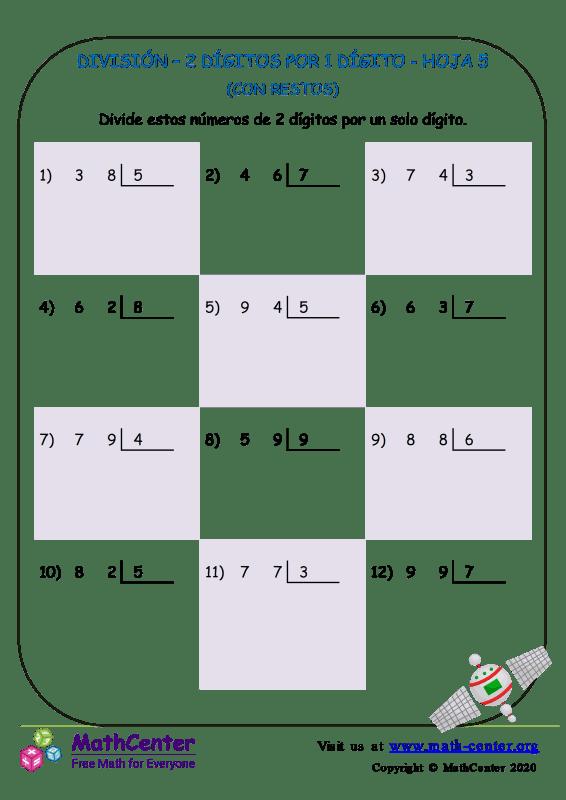 División – 2 Dígitos Por 1 Dígito Hoja 5
