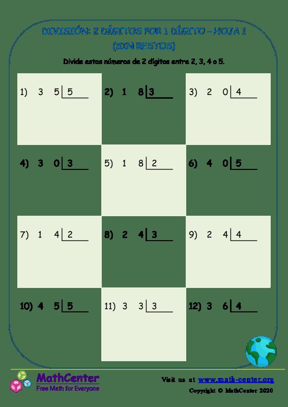 División (sin resto) 2 dígitos por 1 dígito - Hoja 1