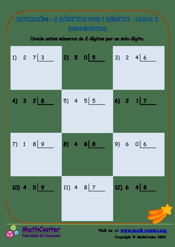 División (sin resto) 2 dígitos por 1 dígito - Hoja 2