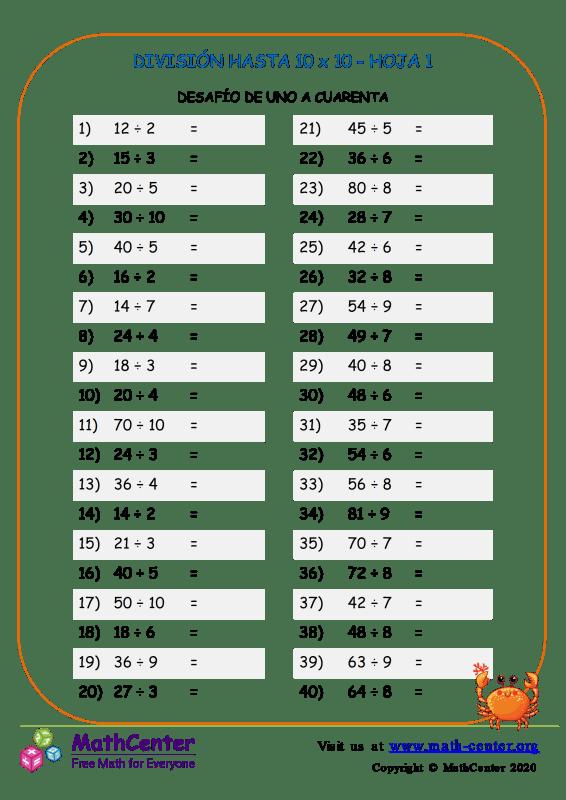 División Hasta 10 X 10 Hoja 1
