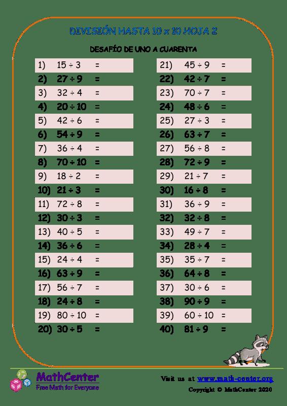 División Hasta 10 X 10 Hoja 2