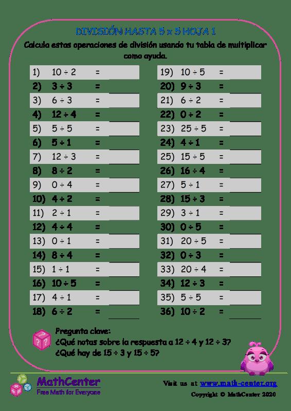 División Hasta 5 X 5 Hoja 1