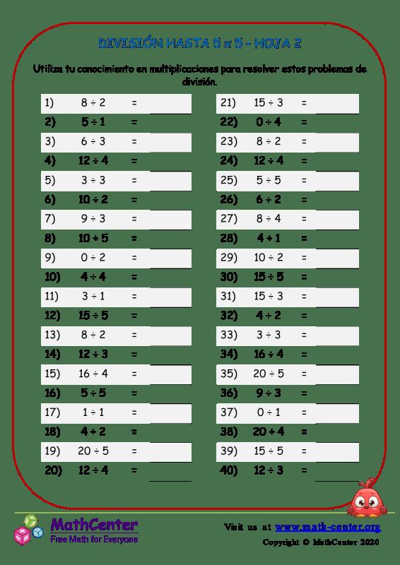 División Hasta 5 X 5 Hoja 2