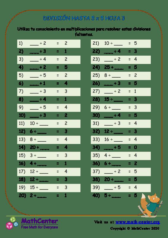 División Hasta 5 X 5 Hoja 3