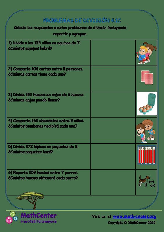 Problemas de división - Hoja 4.1 C