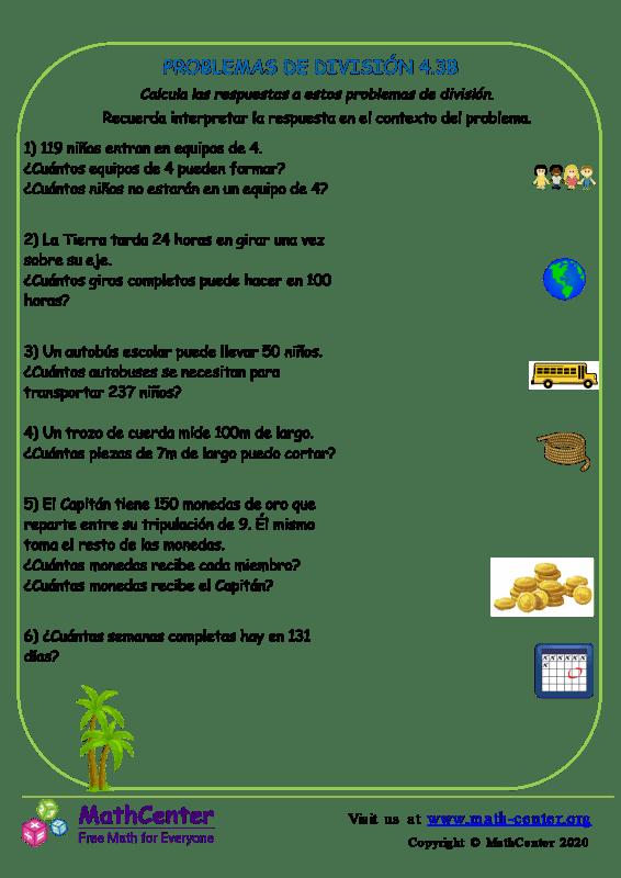 Problemas de división - Hoja 4.3 B