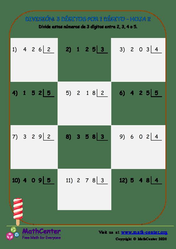 División: 3 Dígitos Por 1 Dígito Hoja 2