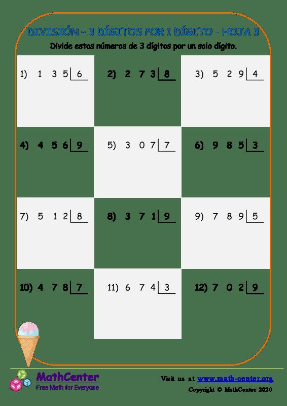 División – 3 Dígitos Por 1 Dígito Hoja 3