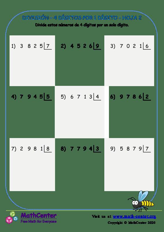 División – 4 Dígitos Por 1 Dígito Hoja 2