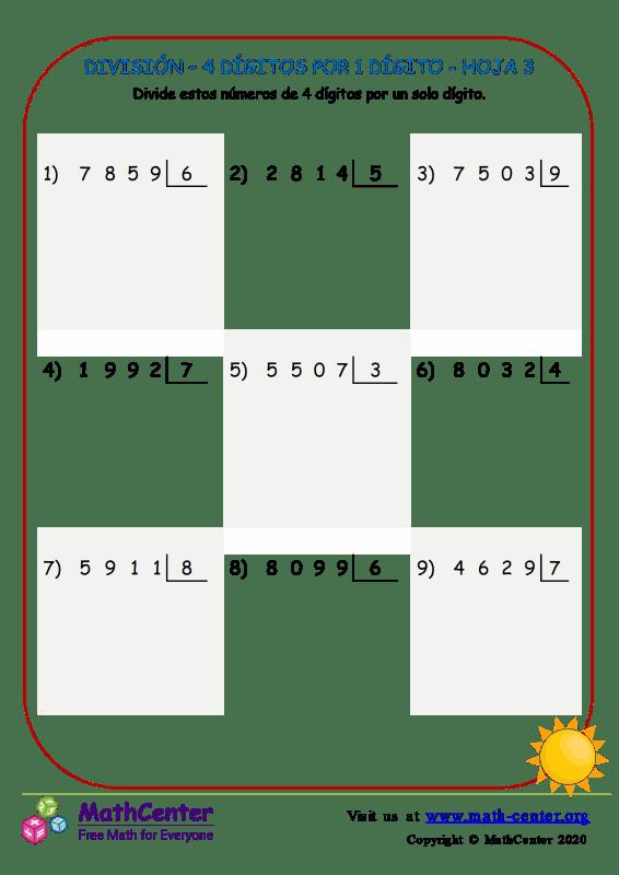 División – 4 Dígitos Por 1 Dígito Hoja 3