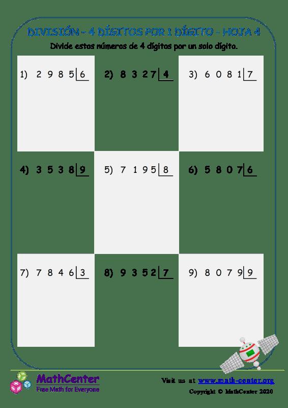 División – 4 Dígitos Por 1 Dígito Hoja 4