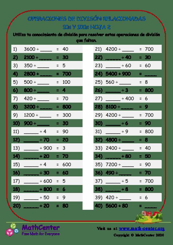 Divisiones: Operaciones relacionadas con 10 y 100 - Hoja 2