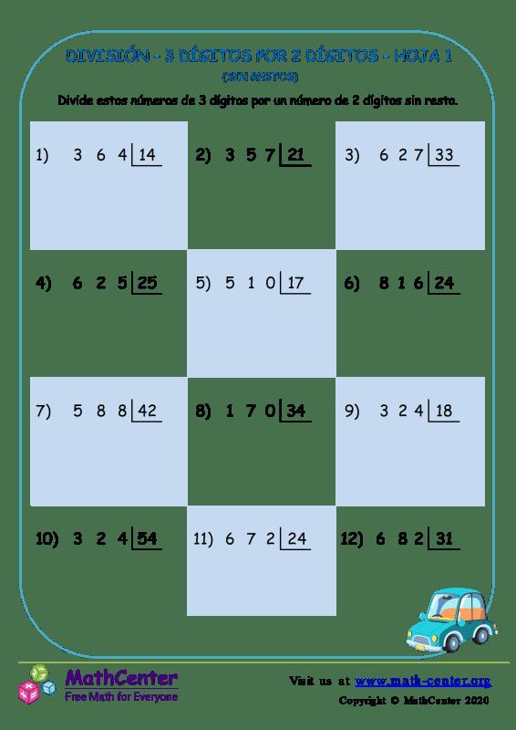 División – 3 Dígitos Por 2 Dígitos Hoja 1 (Sin Restos)