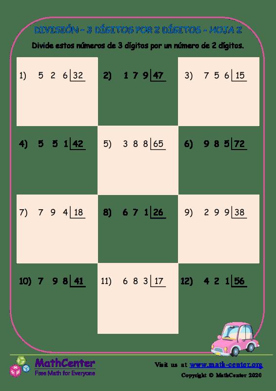 División – 3 Dígitos Por 2 Dígitos Hoja 2