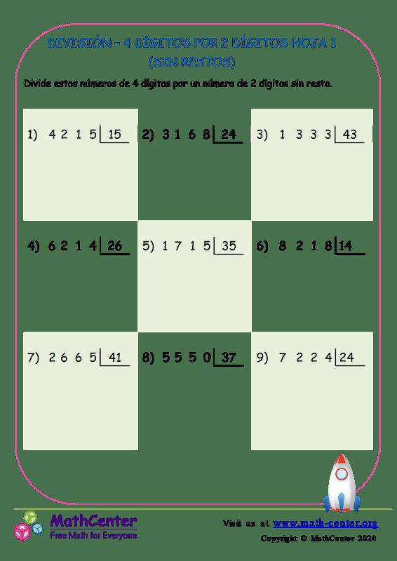 División – 4 Dígitos Por 2 Dígitos Hoja 1 (Sin Restos)