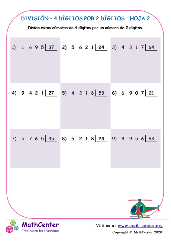 División – 4 Dígitos Por 2 Dígitos Hoja 2