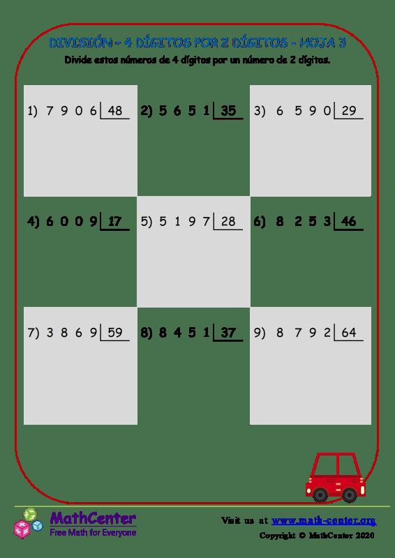 División – 4 Dígitos Por 2 Dígitos Hoja 3
