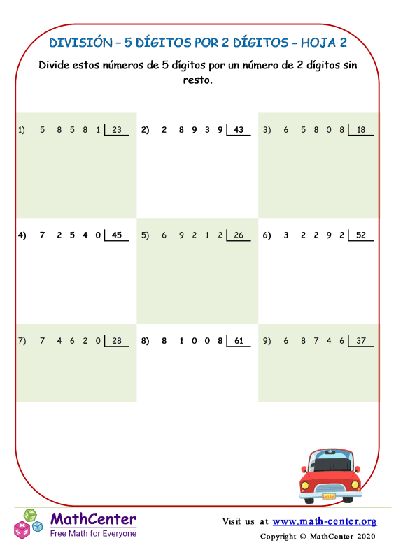 División – 5 Dígitos Por 2 Dígitos Hoja 2