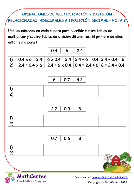División y Multiplicación - Operaciones con Decimales - Hoja 2