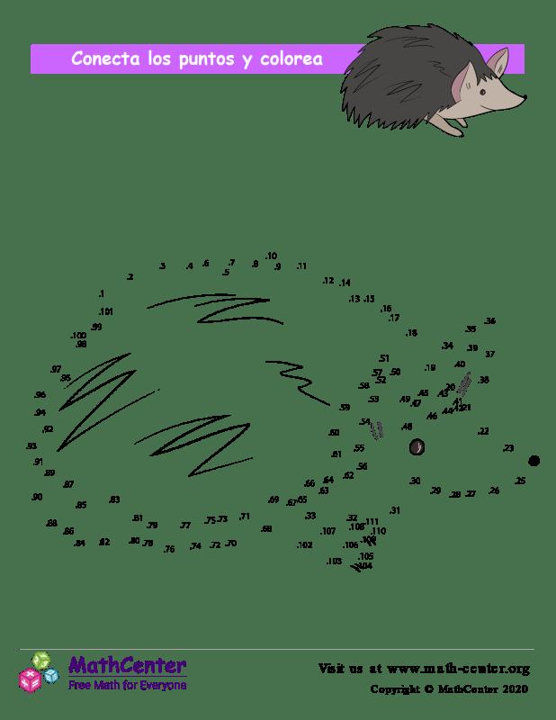 Conecta los puntos Hasta 101 - Erizo