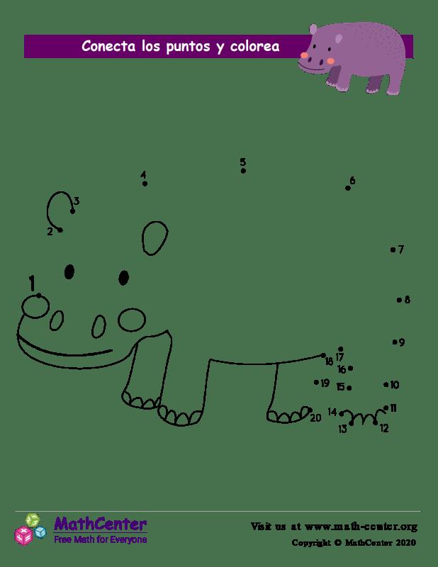 Conecta los puntos Hasta 20 - Hipopótamo