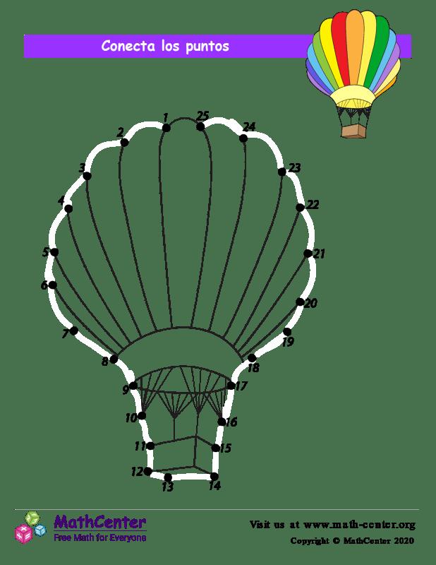 Conecta los puntos Hasta 25 - Globo aerostático