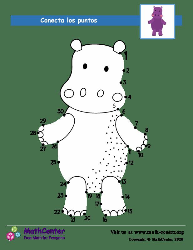 Conecta los puntos 2 Hasta 30 - Hipopótamo