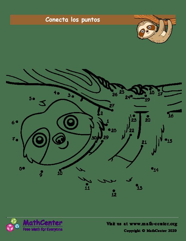 Conecta los puntos Hasta 30 - Oso perezoso