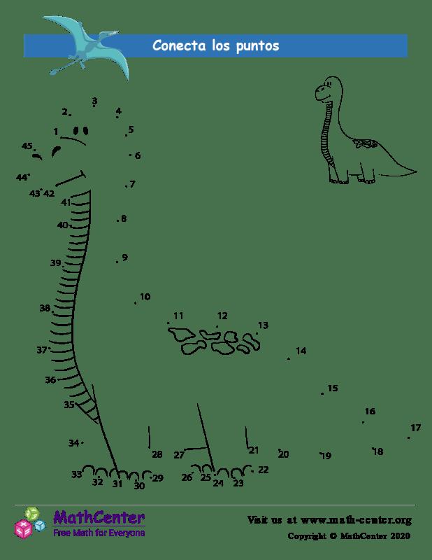 Conecta los puntos Hasta 45 - Dinosaurio