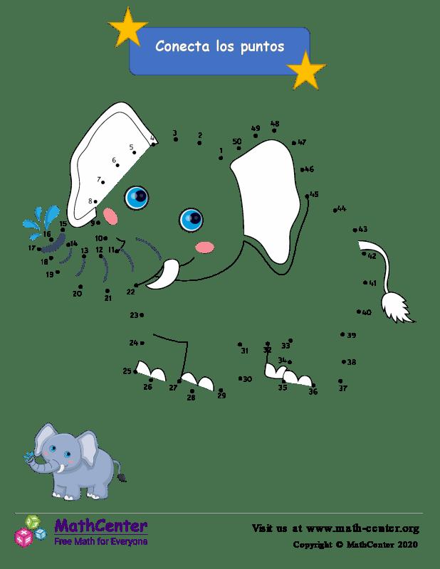 Conecta los puntos Hasta 50 - Elefante