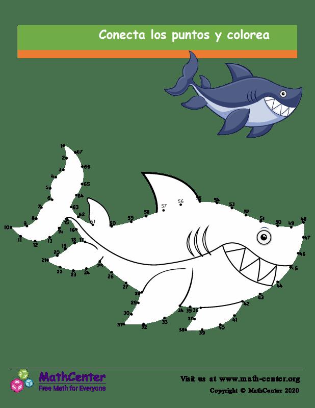 Conecta los puntos Hasta 67 - Tiburón N° 2