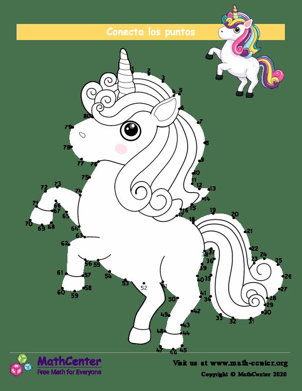 Conecta los puntos Hasta 80 - Unicornio