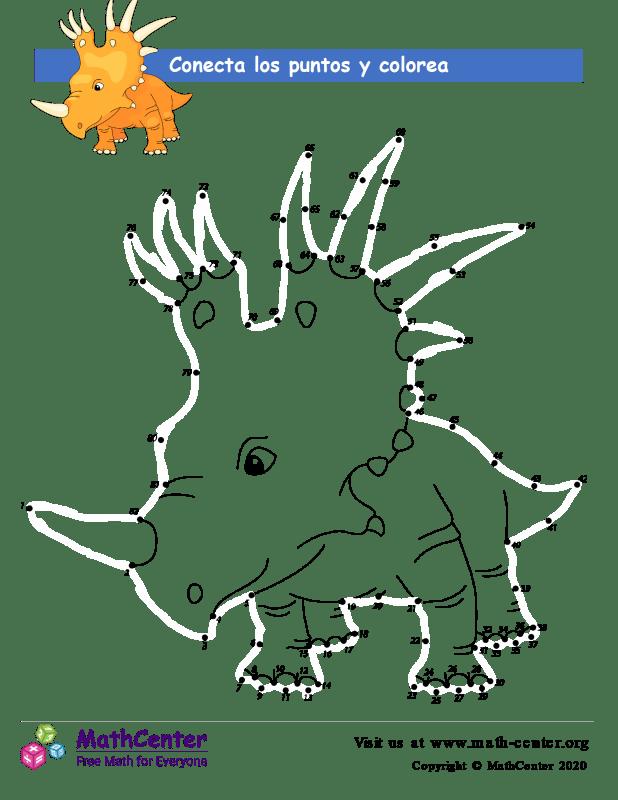 Conecta los puntos Hasta 82 - Dinosaurio