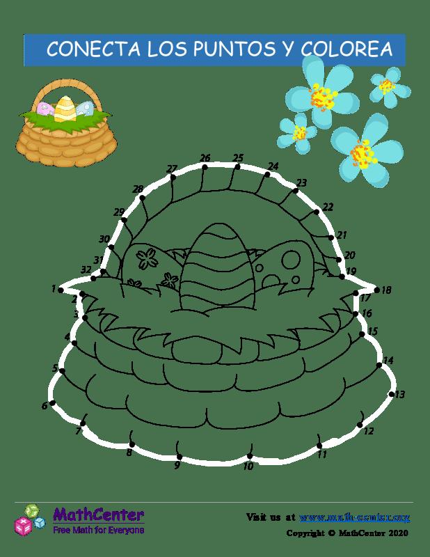 Conecta los puntos Hasta 32 - Canasta de Pascua