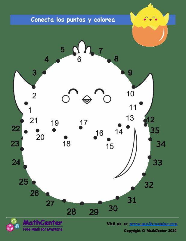 Conecta los puntos Hasta 35 - Polluelo de Pascua