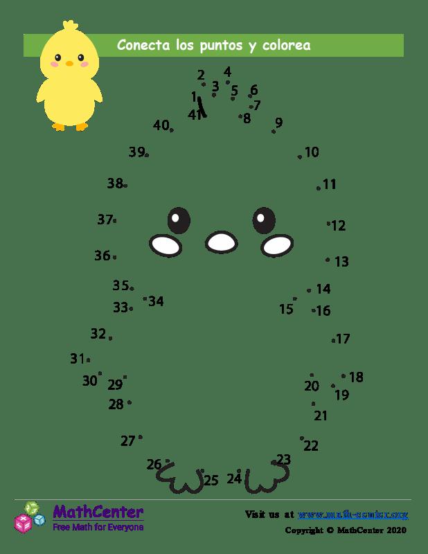 Conecta los puntos Hasta 41 - Polluelo de Pascua