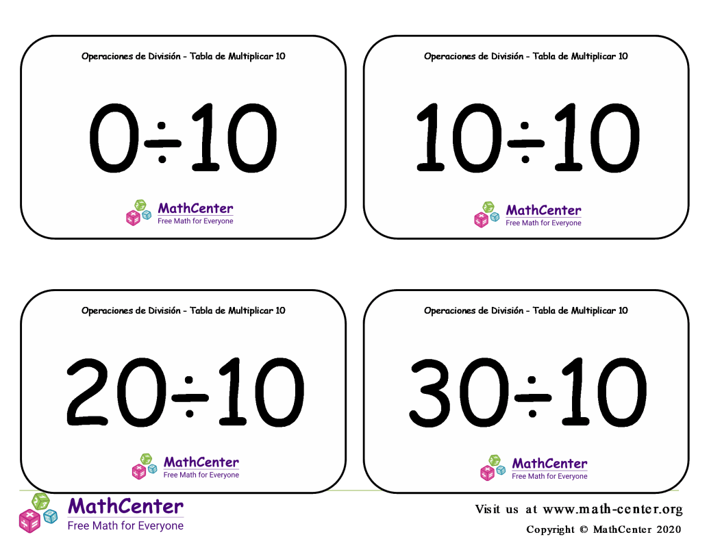 10 Tarjetas didácticas: División - tablas de multiplicar