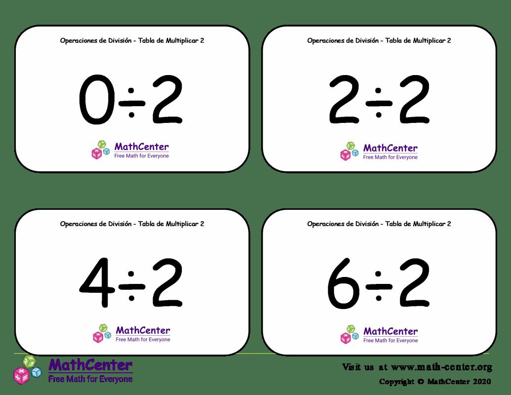 2 Tarjetas didácticas: División - tablas de multiplicar con Respuestas