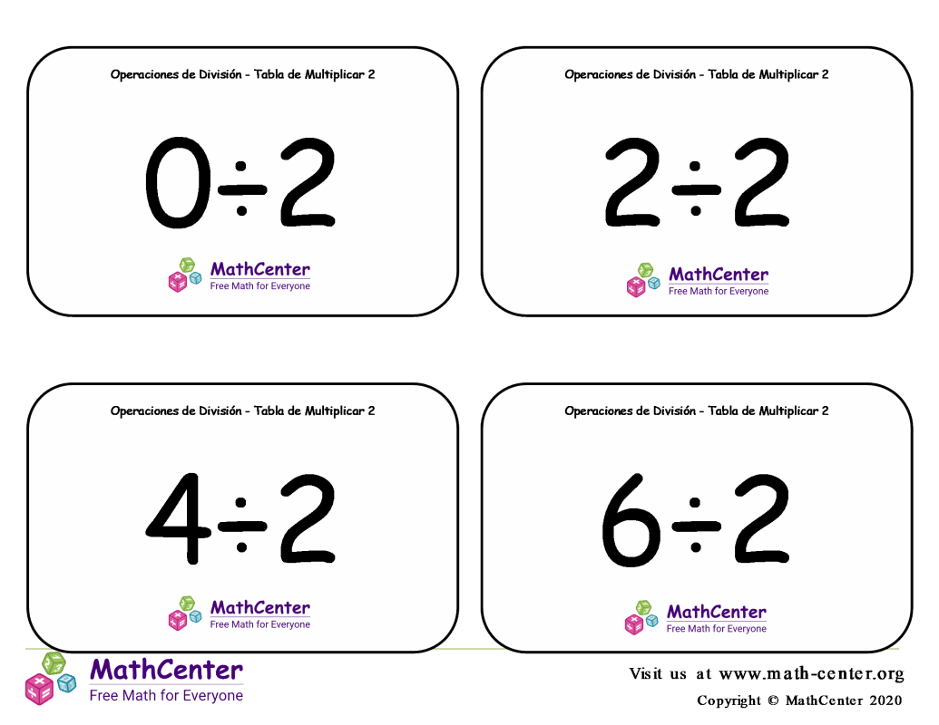 2 Tarjetas didácticas: División - tablas de multiplicar