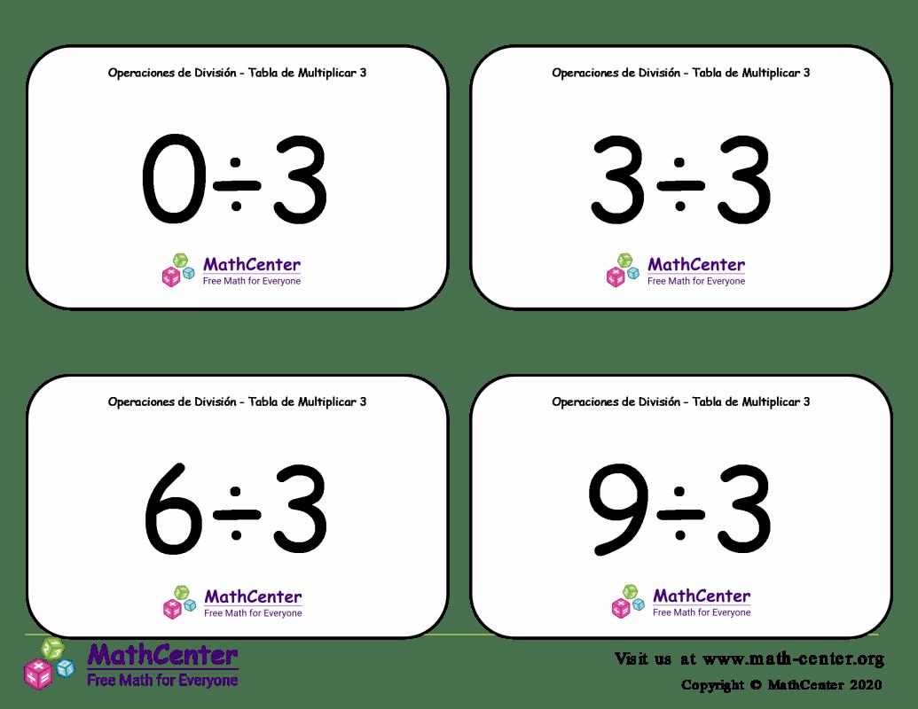 3 Tarjetas didácticas: División - tablas de multiplicar con Respuestas
