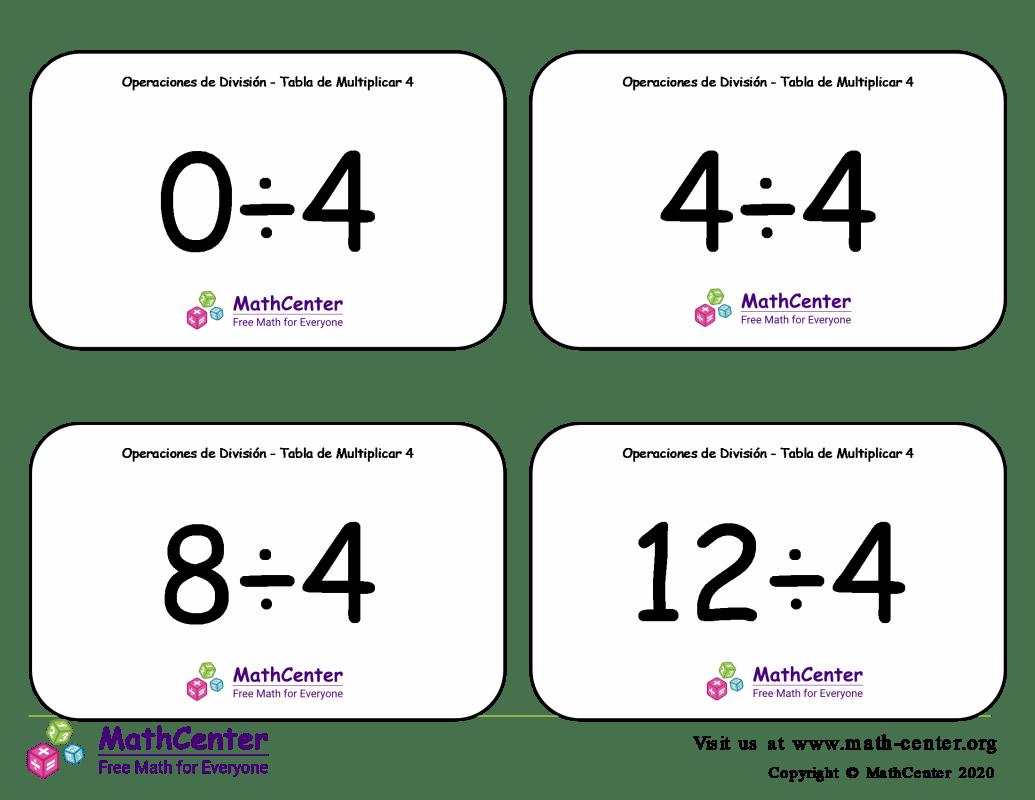 4 Tarjetas didácticas: División - tablas de multiplicar